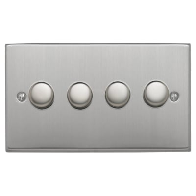 Contactum 250W 4 Gang 2 Way Dimmer Switch - Brushed Steel