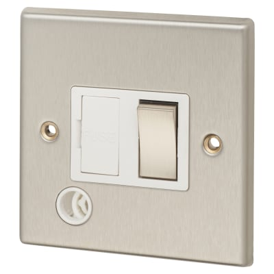 Contactum 13A DP Switched Fuse with Flex Outlet - Brushed Steel with White Inserts