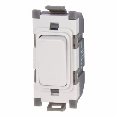 Deta 10A 1 Way Single Pole Grid Switch - White
