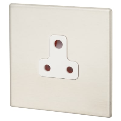 Hamilton Hartland G2 5A 1 Gang Unswitched Socket - Satin Steel/White