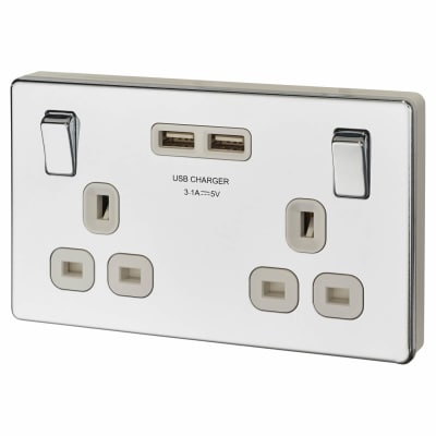 BG 13A Screwless Flatplate Socket with 2 x USB - 3.1A - Polished Chrome with White Insert