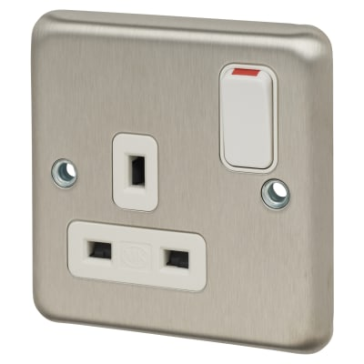 MK 13A 1 Gang Switched Socket - Brushed Stainless Steel