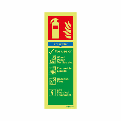 NITE GLO Fire Extinguisher Signs - Dry Powder - 300 x 100mm - Rigid Plastic