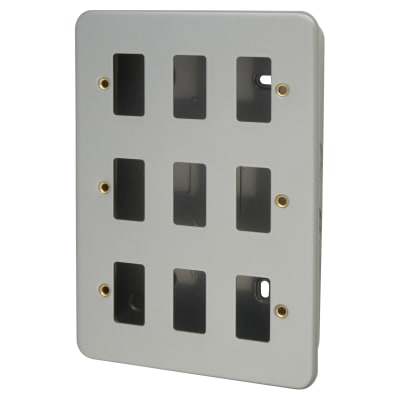 Click Scolmore 9 Gang GridPro Frontplate & Back Box - Grey