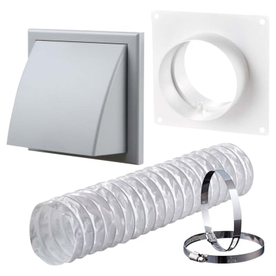 Blauberg Ventilation Wall Kit with PVC Duct & Cowled Wall Vent - 100mm - Grey