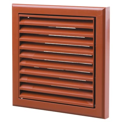 Blauberg Plastic Fixed Blade Grille - 125mm - Terracotta