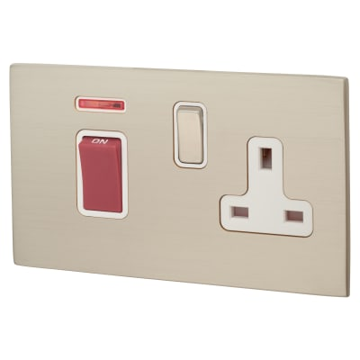 Hamilton Hartland CFX 13A 1 Gang DP Socket & 45A Switch with Neon - Satin Steel with White Inserts