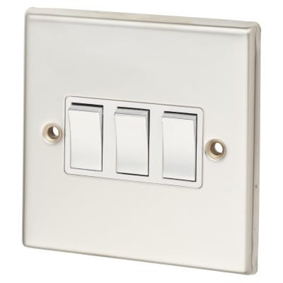 Contactum 3 Gang 2 Way 10AX Switch - Polished Steel with White Insert