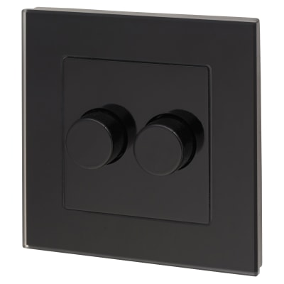 Retrotouch 2 Gang 2 Way Rotary LED Dimmer Switch - Black Plain Glass