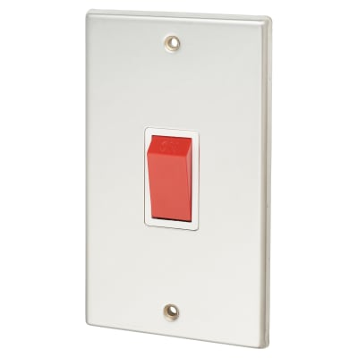 Contactum 45A 1 Gang DP Switch Vertical Plate - Polished Steel with White Inserts