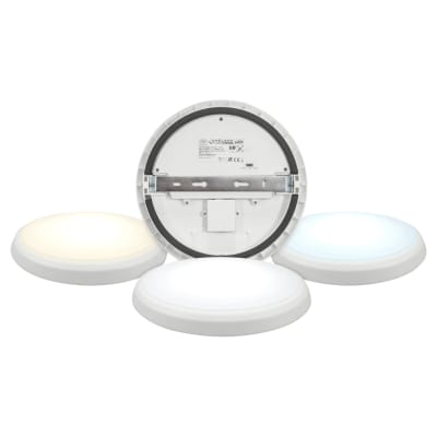 Crompton Melana 18W Select LED Round Bulkhead with Emergency Function - Tri-Colour Select