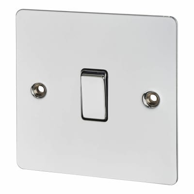 BG 10A 1 Gang 2 Way Flatplate Switch - Polished Chrome