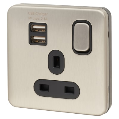 Schneider Lisse 13A 1 Gang Switched Socket with 2 x USB - Brushed Steel with Black Inserts
