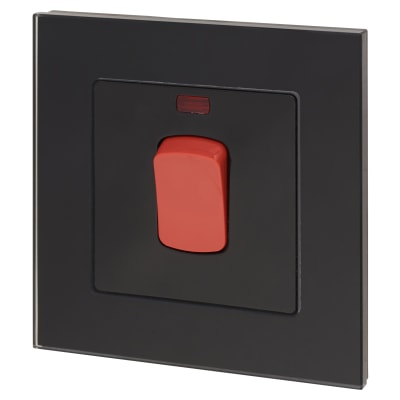 Retrotouch 45A DP Switch With Neon - Black Plain Glass