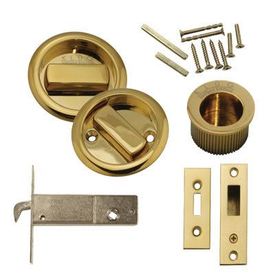 Klug Round Flush Handle Set with Latch - PVD Brass