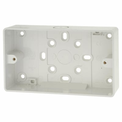 MK 2 Gang Moulded Surface Pattress Box - 32mm - White