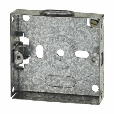 1 Gang Flush Back Box with Knockout - 16mm - Galvanised