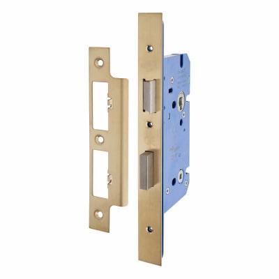 Hampstead Architectural DIN Bathroom Lock - 85mm Case - 60mm Backset - PVD Brass