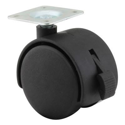 Mini Twin Wheel Castor - With Brake - 50mm Wheel Diameter - Pack 4
