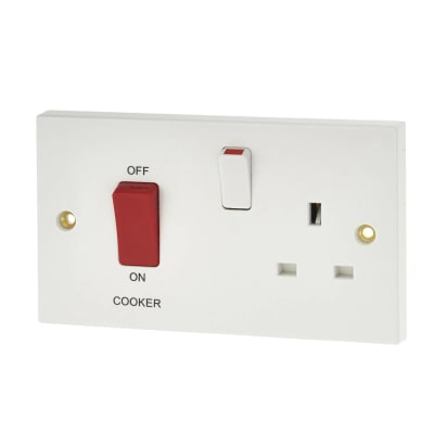 BG 45A 2 Gang Cooker Control Switch Socket - White