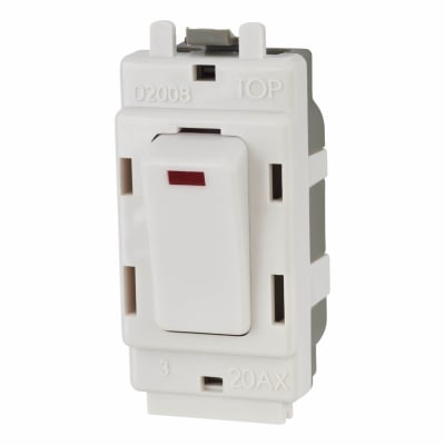 BG 20AX Double Pole Grid Switch with Neon - White