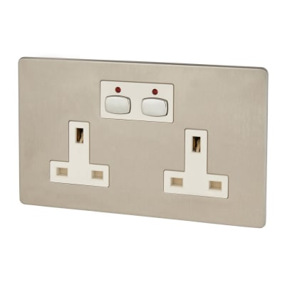 MiHome Double Wall Smart Socket - Brushed Chrome