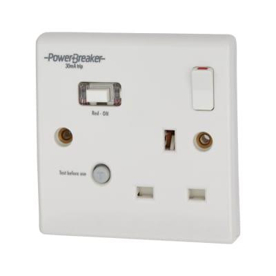 Greenbrook Powerbreaker 13A 1 Gang 30mA RCD Socket - White