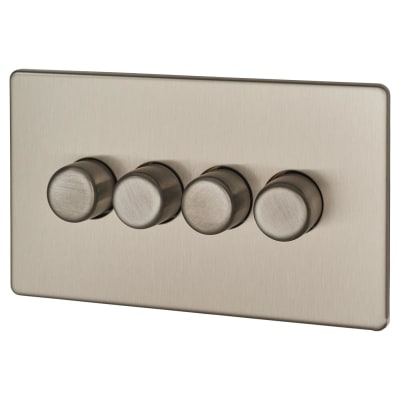 BG Screwless Flatplate 400W 4 Gang 2 Way Dimmer Switch - Brushed Steel