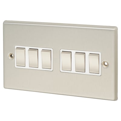 Contactum 6 Gang 2 Way 10AX Switch - Brushed Steel with White Inserts