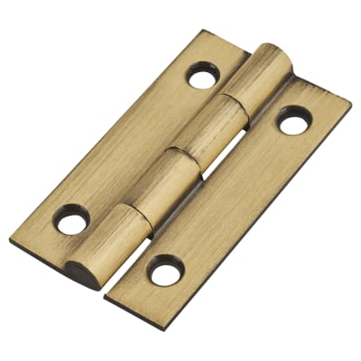 Solid Drawn Hinge - 38 x 22 x 1.45mm - Antique Brass - Pair