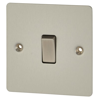 BG Flat Plate 10A 1 Gang 2 Way Single Pole Light Switch - Brushed Steel