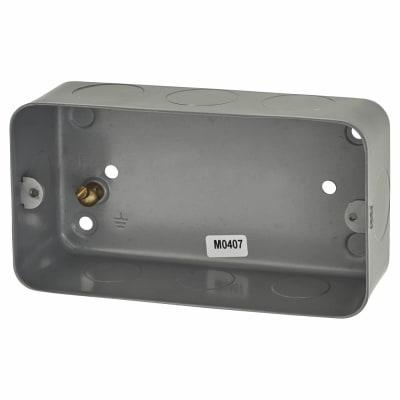 MK 2 Gang Grid Switch Flush Back Box - 40mm - Grey