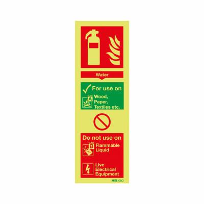 NITE GLO Fire Extinguisher Sign - Water - 300 x 100mm - Rigid Plastic