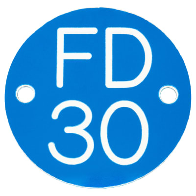 FD30 Door Sign Drilled - 50mm - Blue