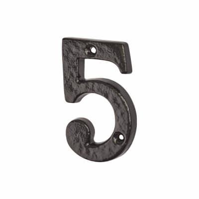 Elan 76mm Numeral - 5 - Metalized Antique Black Iron