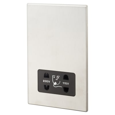 Hamilton Hartland G2 Shaver Dual Voltage Unswitched Socket Vertically Mounted - Satin Steel/Black
