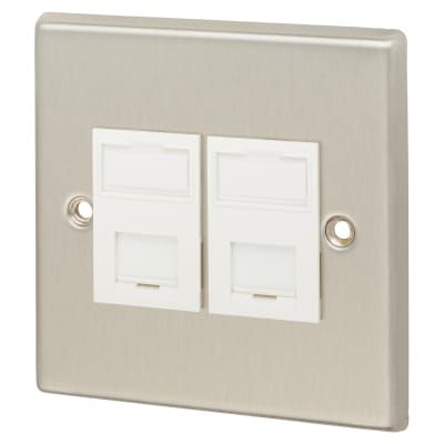 Contactum RJ45 Cat 5 2 Gang Data Comms - Brushed Steel with White Inserts