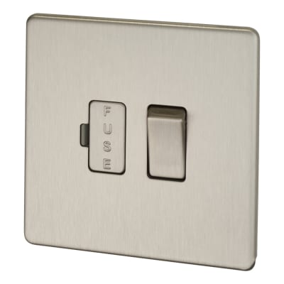 BG 13A Screwless Flatplate Switched Fuse Connection Unit - Brushed Steel