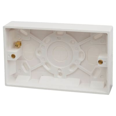 Contactum 2 Gang Surface Pattress Box with Earth Terminal - 25mm - White