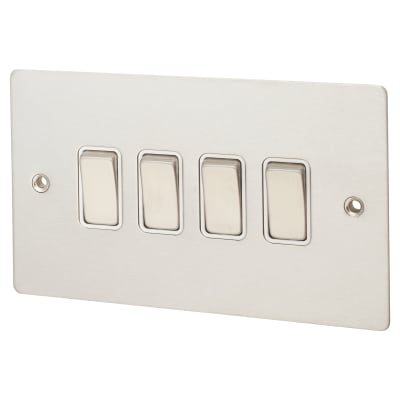 Hamilton Sheer 10AX 4 Gang 2 Way Switch - Satin Steel with White Inserts