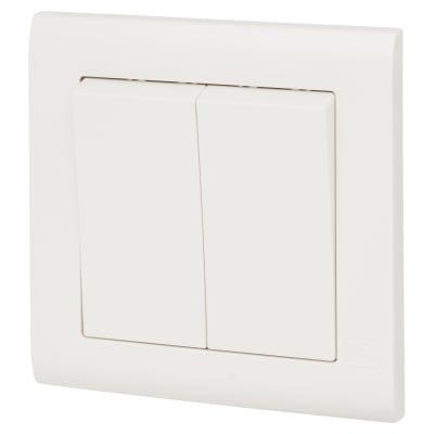 MK Essentials 10AX 2 Gang 2 Way Wide Rocker Switch - White With White Inserts
