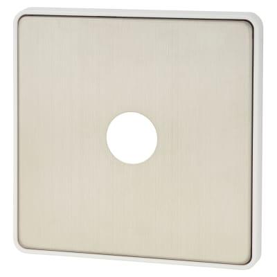 MK Front Plate For 1 Gang Single Dimmer - Brushed Stainless Steel/White Insert