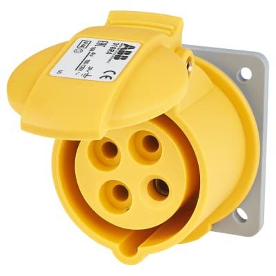 ABB 16A 4 Pin Splashproof Socket Outlet - Yellow