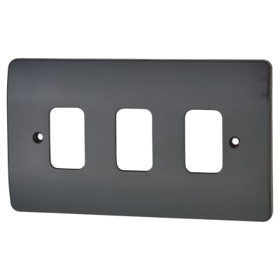 MK Logic Plus 3 Gang Front Plate - Graphite