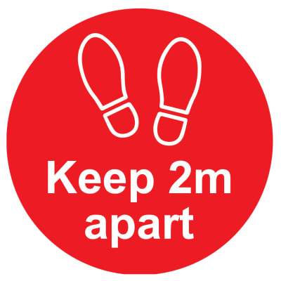 Social Distance Floor Sign - Please Keep 2m Apart - 200mm - Red