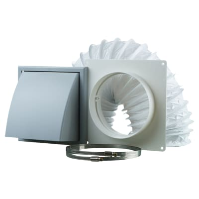 Blauberg Ventilation Wall Kit with PVC Duct & Cowled Wall Vent - 150mm - Grey