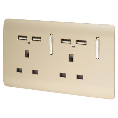 Trendi 13A 2 Gang Switched Socket 4 x 2.1Am USB - Gold