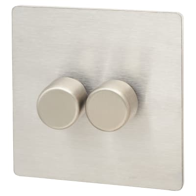 Hamilton Sheer CFX 100W 2 Gang 2 Way LED Dimmer Switch - Satin Steel