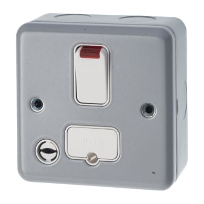 MK 13A 1 Gang Double Pole Metalclad Fused Switch with Flex Outlet and Neon - Grey