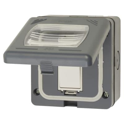 Schneider 10AX IP55 1 Gang 2 Way Switch - Grey